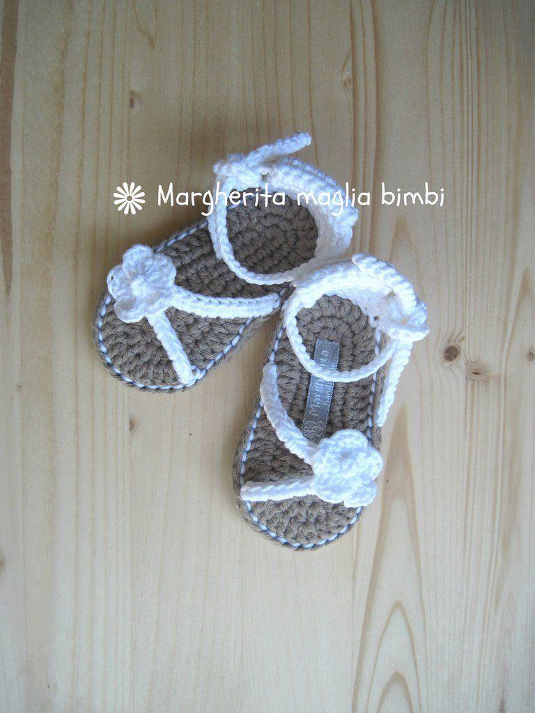 Scarpine sandali bianchi neonata/bambina fatti a mano in ...