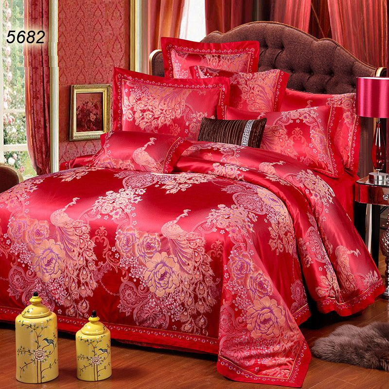 Chinese Red Silk Bedding Sets Peakcock Bed Covers Peony Floral Jacquard Duvet Cover Pure Color Bed Sheet King Size Bedding Sets Bedding Sets Queen Bedding Sets