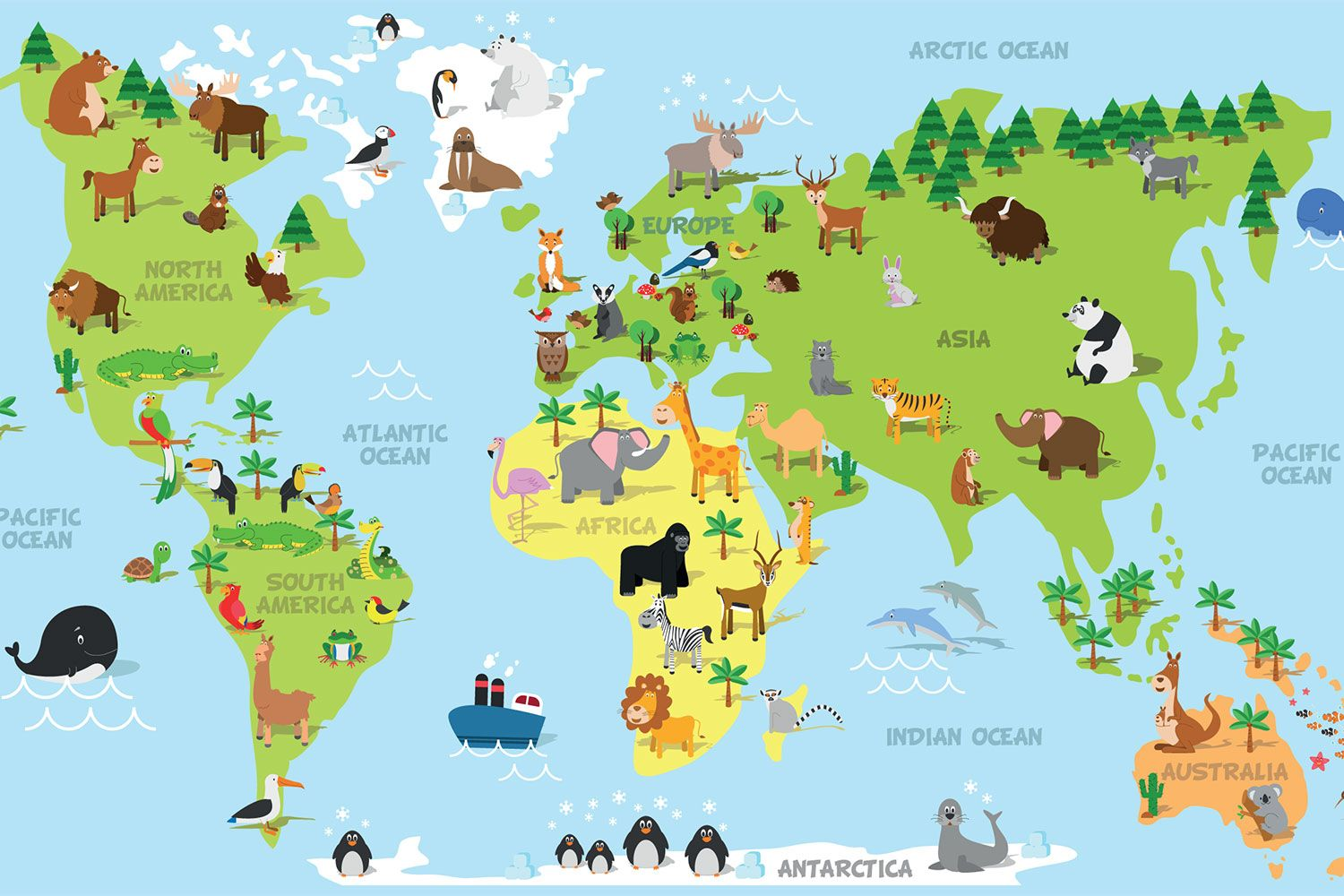 Order animal world map wallpaper to create fantastic wall decor in order animal world map wallpaper to create fantastic wall decor in your living space or browse thousands of other wallpapers at print a wallpaper gumiabroncs Choice Image