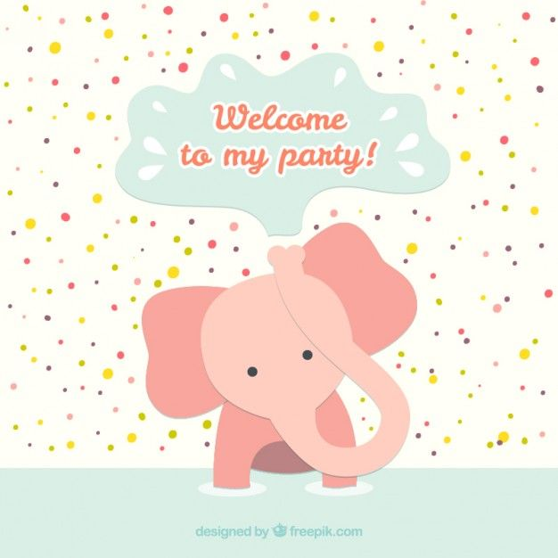 Download Birthday Card With Baby Elephant For Free Birthday Cards Vector Free Baby Birthday Invitations