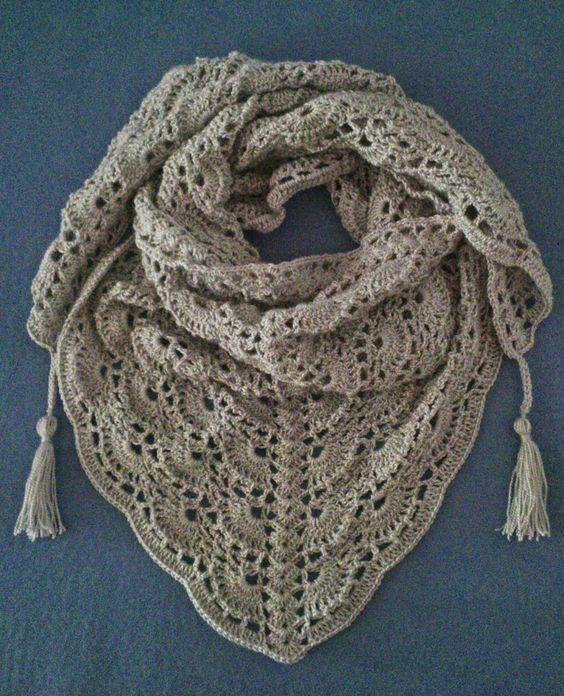 Chal triangular al Crochet (con patron) | Ideas para tejido y ...