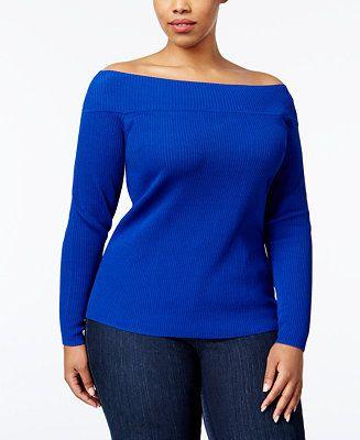 81c1d18e58b INC International Concepts Plus Size Off-The-Shoulder Sweater