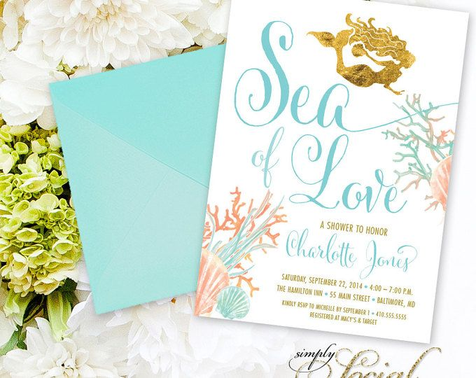 Under the sea mermaid bridal shower invitation boho sea of love under the sea mermaid bridal shower invitation boho sea of love coral turquoise faux gold foil beach invitation gold glitter watercolor pinterest filmwisefo
