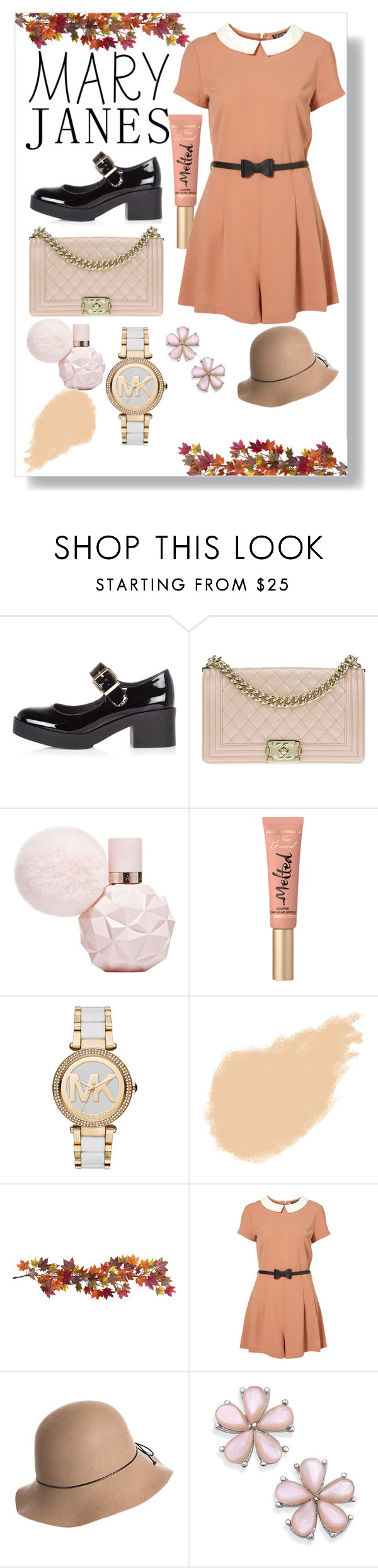 """""""Hello September"""" by yixingunicorn on Polyvore featuring moda, River Island, Chanel, Too Faced Cosmetics, Michael Kors, NARS Cosmetics, Nearly Natural ve Overland Sheepskin Co."""