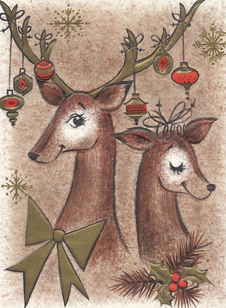Vintage Reindeer Card DIY Pinterest Vintage cards and Cards