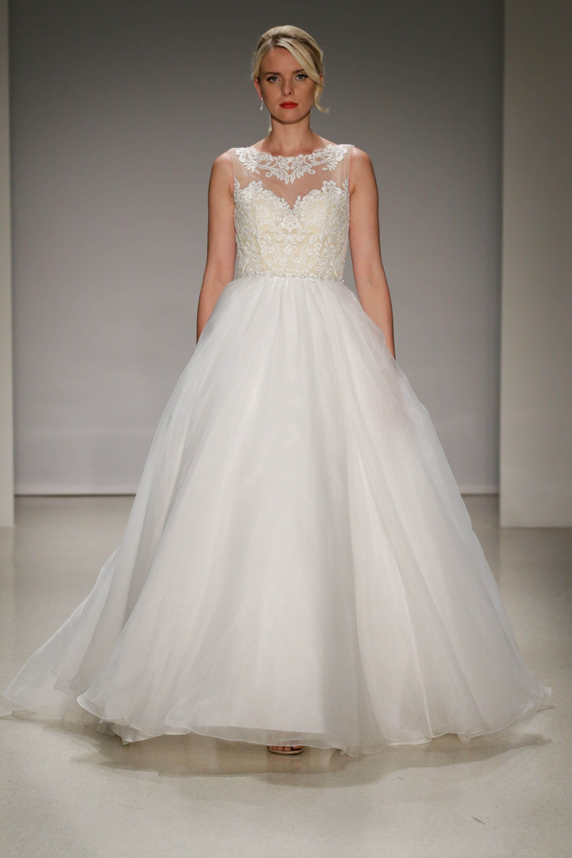 Ball Gown Wedding Dress With Lace Bodice And Sheer Yoke