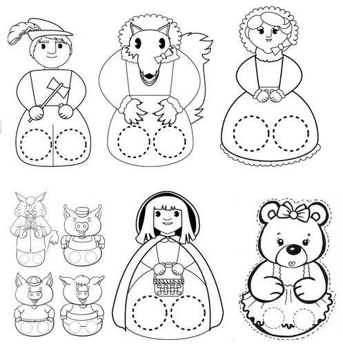 Resultado de imagen para titeres de papel para colorear