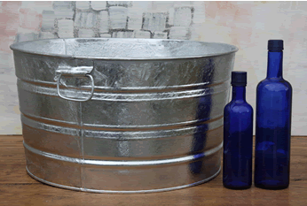 Large Round Galvanized Tub Metal Display Wedding Supply Galvanized Tub Wash Tubs Metal Tub