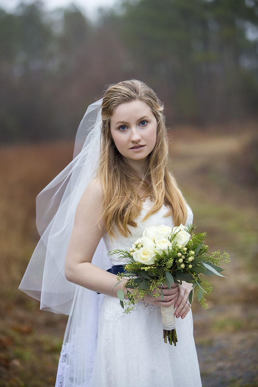 Bride On Gray Day Veil Flowers Live Free Photography Www