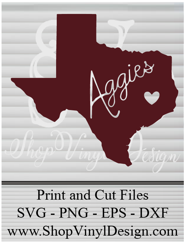 Texas A & M, Aggies Texas - SVG, PNG, EPS, AI, PDF Digital Files for Cricut, Silhouette, Sure Cuts A Lot and More