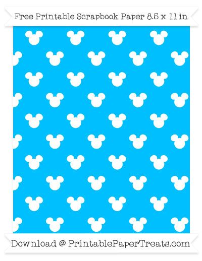 Free Deep Sky Blue Background Small Mickey Mouse Head Pattern Paper ...