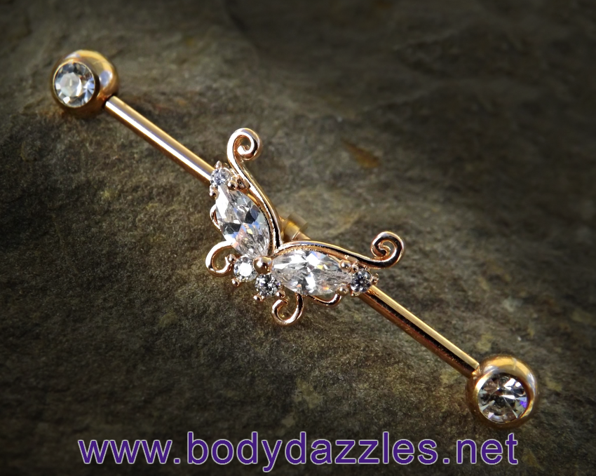 Rose Gold Butterfly with Opal Ends Industrial Barbell 14ga Surgical Steel Scaffo…