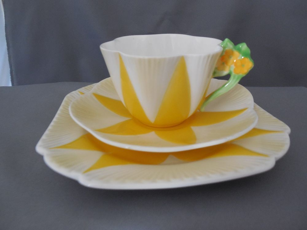 RARE Shelley China Yellow Harlequin Dainty Floral Handle Cup Saucer Plate Trio   eBay