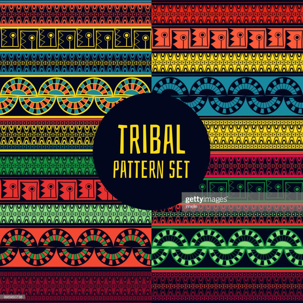 Stock Illustration Set of tribal pattern seamless vector