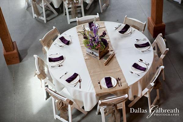 Purple Burlap Runners Wedding Photo Dallas Galbreath