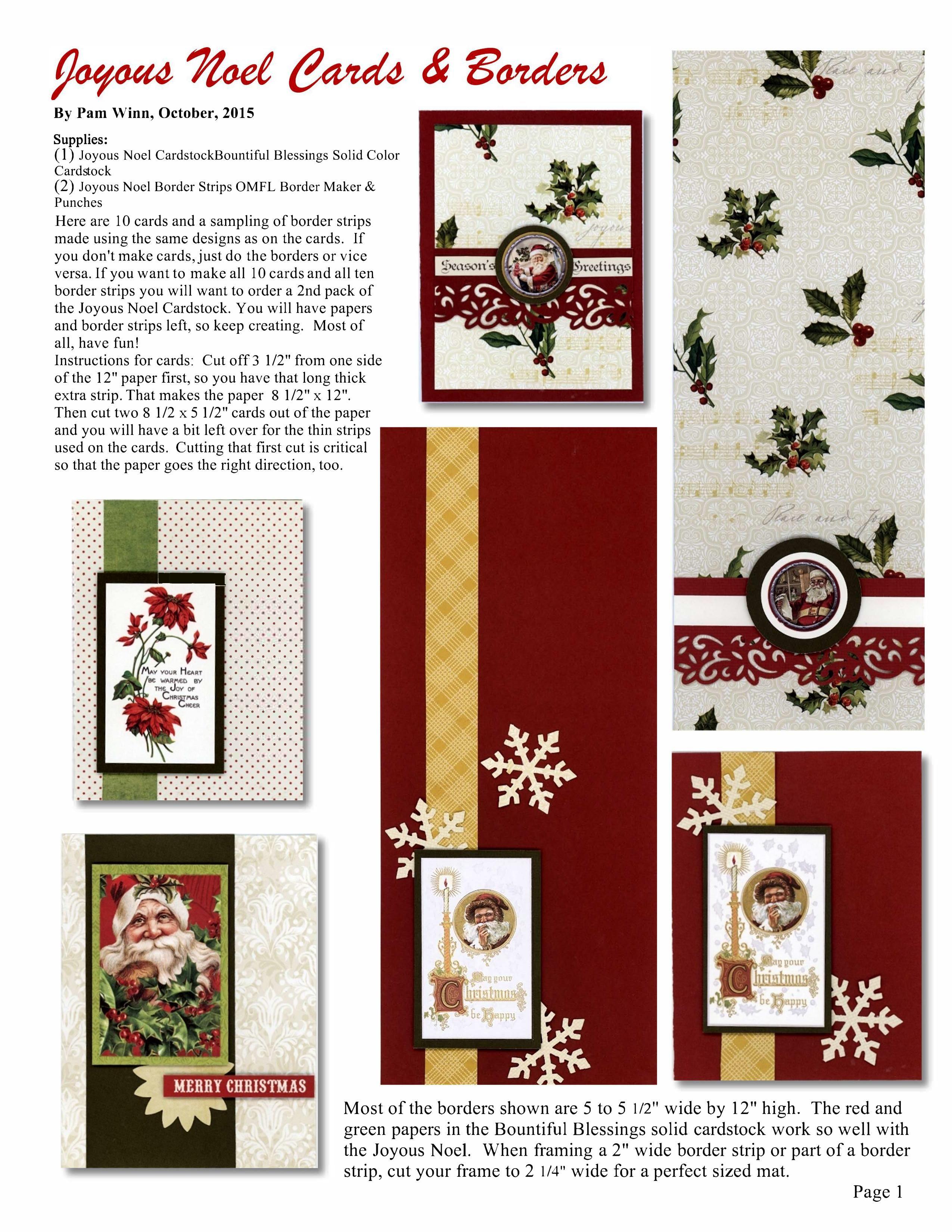 Delightful Card Making Ideas Pdf Part - 12: JOYOUS NOEL Cards U0026 Borders By Pam Winn (p. 1) - Click On