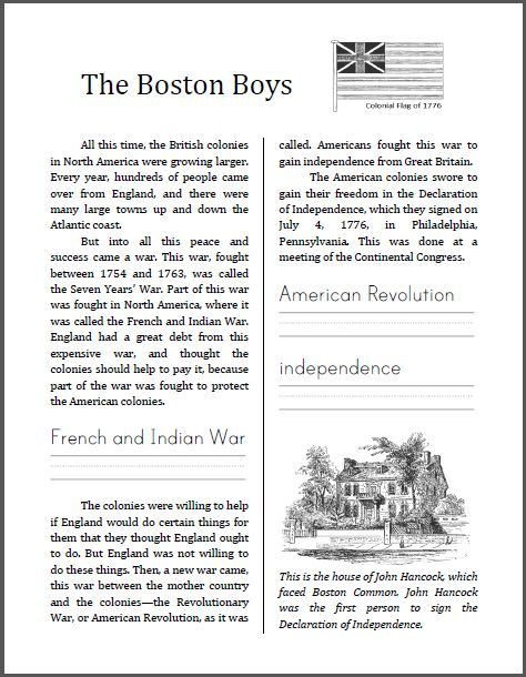 Free The Boston Boys Free Printable Pdf Workbook On The