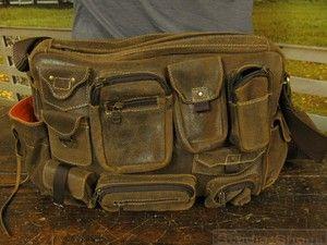 Vtg Bomber Aviator Military Multi Pocket Rugged Leather Messenger Laptop Bag Men