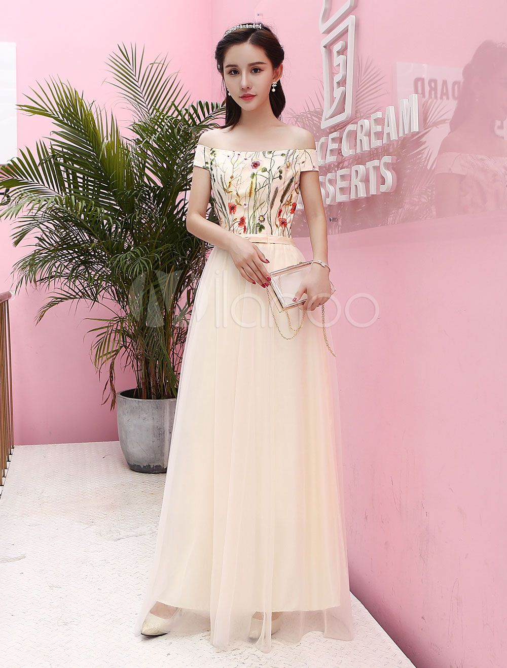 e636cdc7c9 Champagne Prom Dresses Long Lace Embroidered Tulle Off The Shoulder Bow Sash  Floor Length Homecoming Dresses #Long, #Lace, #Embroidered