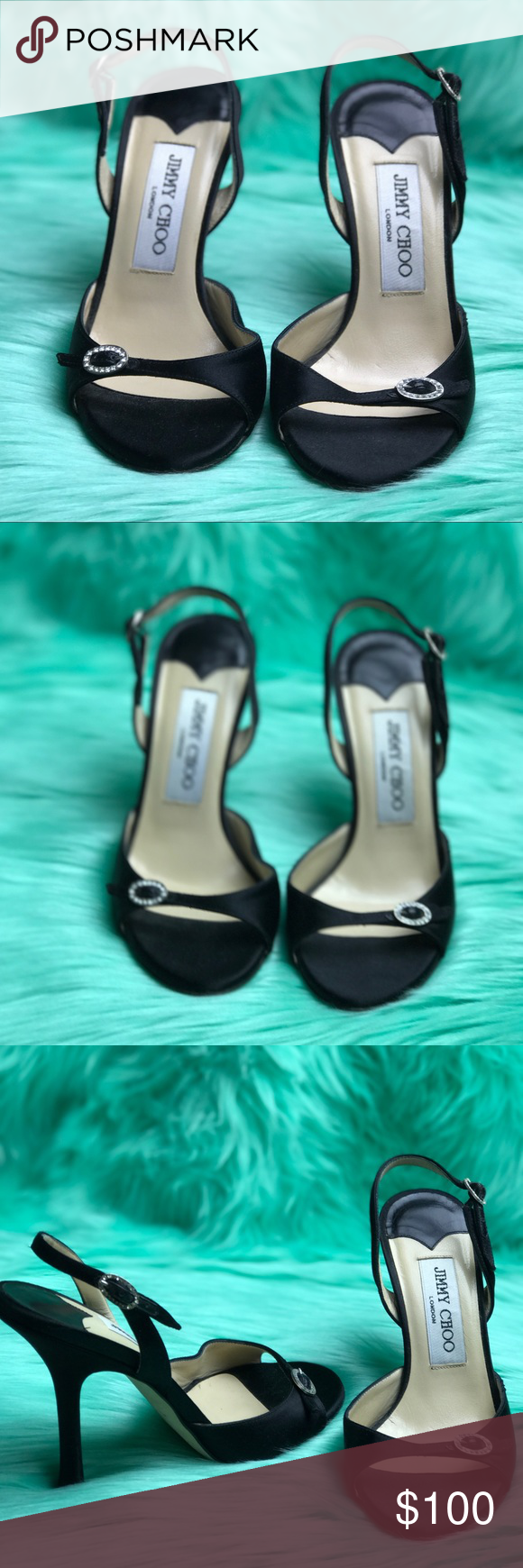 Jimmy Choo Sling back open toe shoes Black satin, sling backs with open toe. Jewels on the buckle. No obvious wear except for on the soles and heel tips. 🍭🍭🍭🍭🍭PLEASE NOTE 🍭🍭🍭THIS IS A SIZE 34 1/2,but that is not an available option so it is listed as a 5. Jimmy Choo Shoes Heels