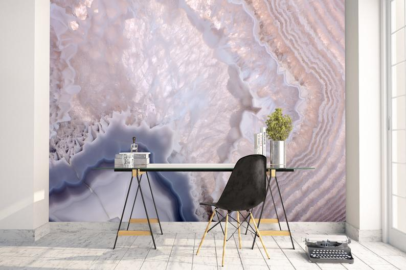 Removable Peel And Stick Wallpaper Grey Geode Agate Crystal Wallpaper Mural In 2021 Peel And Stick Wallpaper Mural Wallpaper Wallpaper