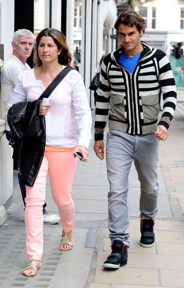 Roger Federer wears the Nike Air Yeezy 2