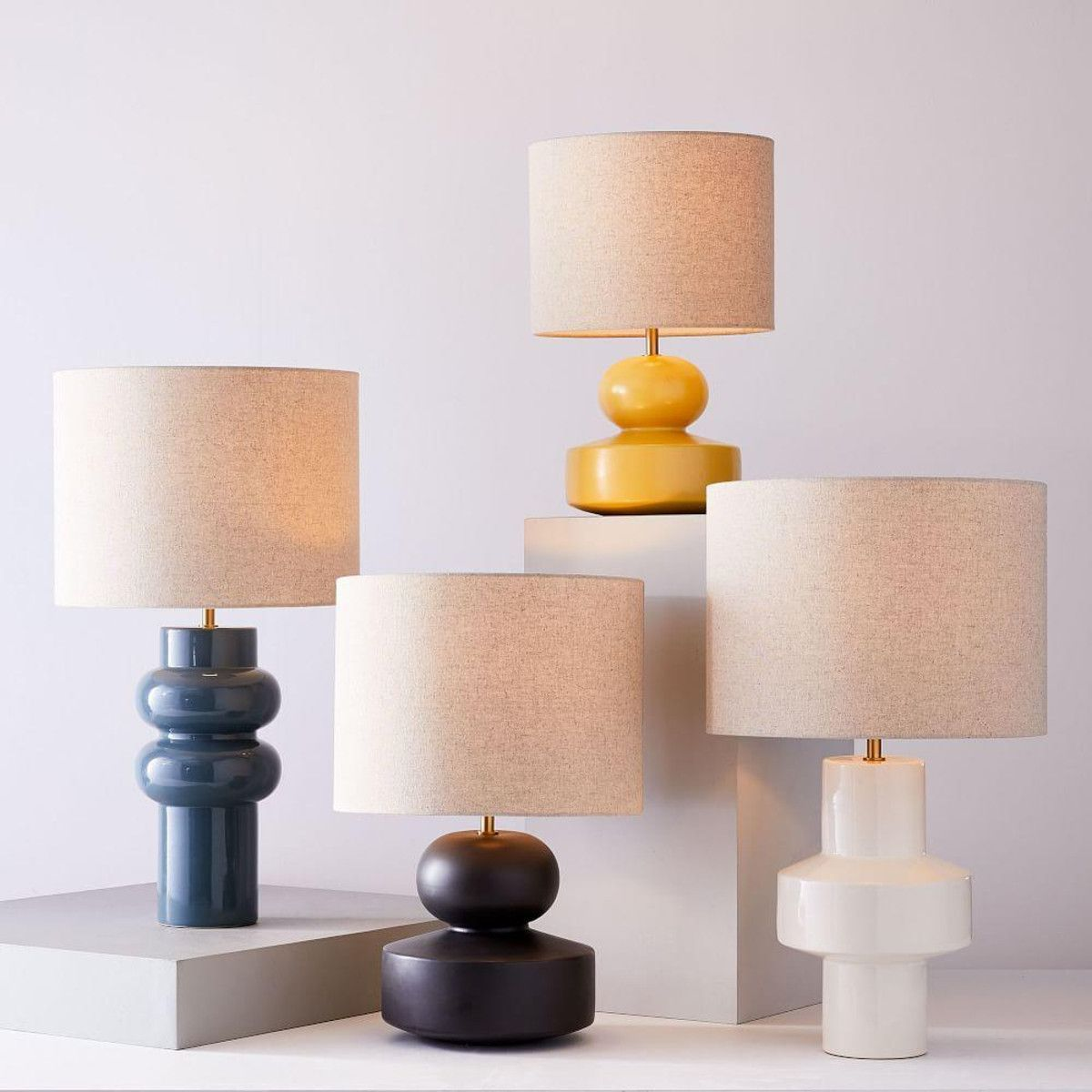 Claire Lamp in Ivory | Lamp, Geometric