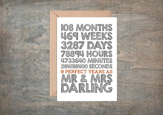 9th Anniversary Gifts For Husband: 9th Wedding Anniversary Card 9th Wedding By