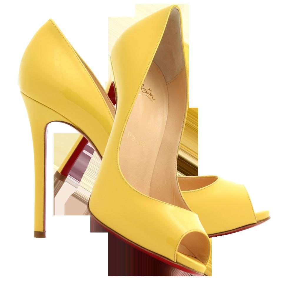 christian louboutin yellow peep toe pumps