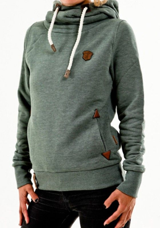 Green Badge Drawstring Cowl Neck Vogue Hooded Casual