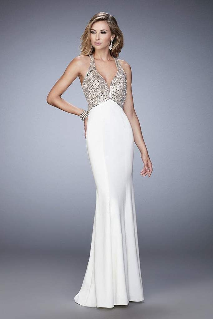 ff230e710d6 La Femme - 22189 Shimmering V-neck Evening Gown – Couture Candy