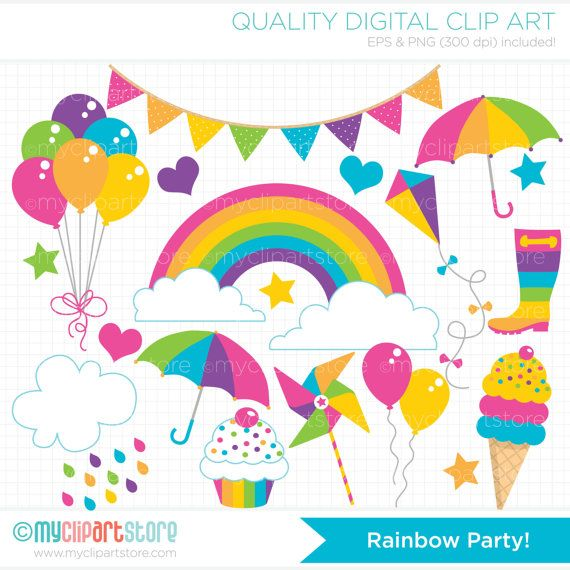 Vector Clipart - Rainbow Clipart - Birthday Cupcakes ...