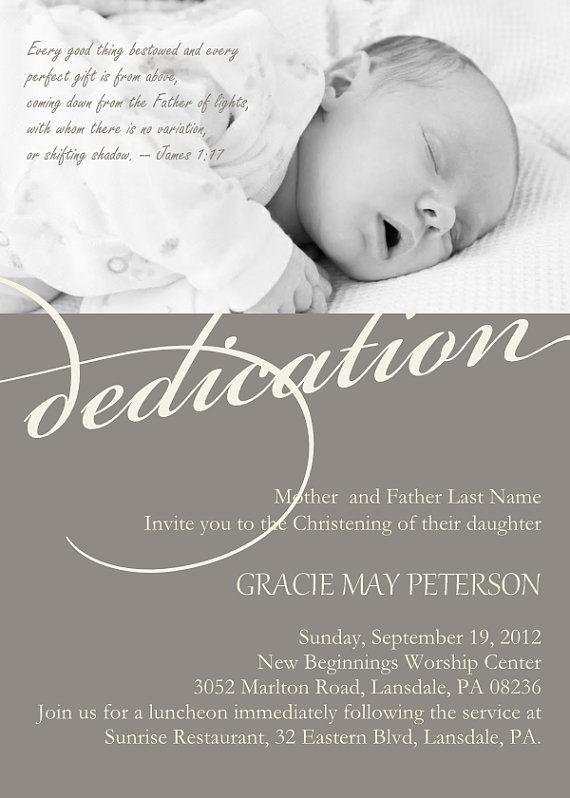 Baby Dedication Invitation Baptism Photo Invitation