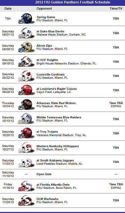 Fiu Florida International Golden Panthers Football Team 2012 Schedule Florida State Football Ohio State Buckeyes Football Miami Hurricanes Football