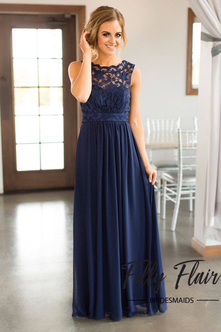Beautiful lace details set this dress apart from any other affordable bridesmaid  dresses! This beautiful full length dress features a sheer lace overlay ... 7b36e1c87896