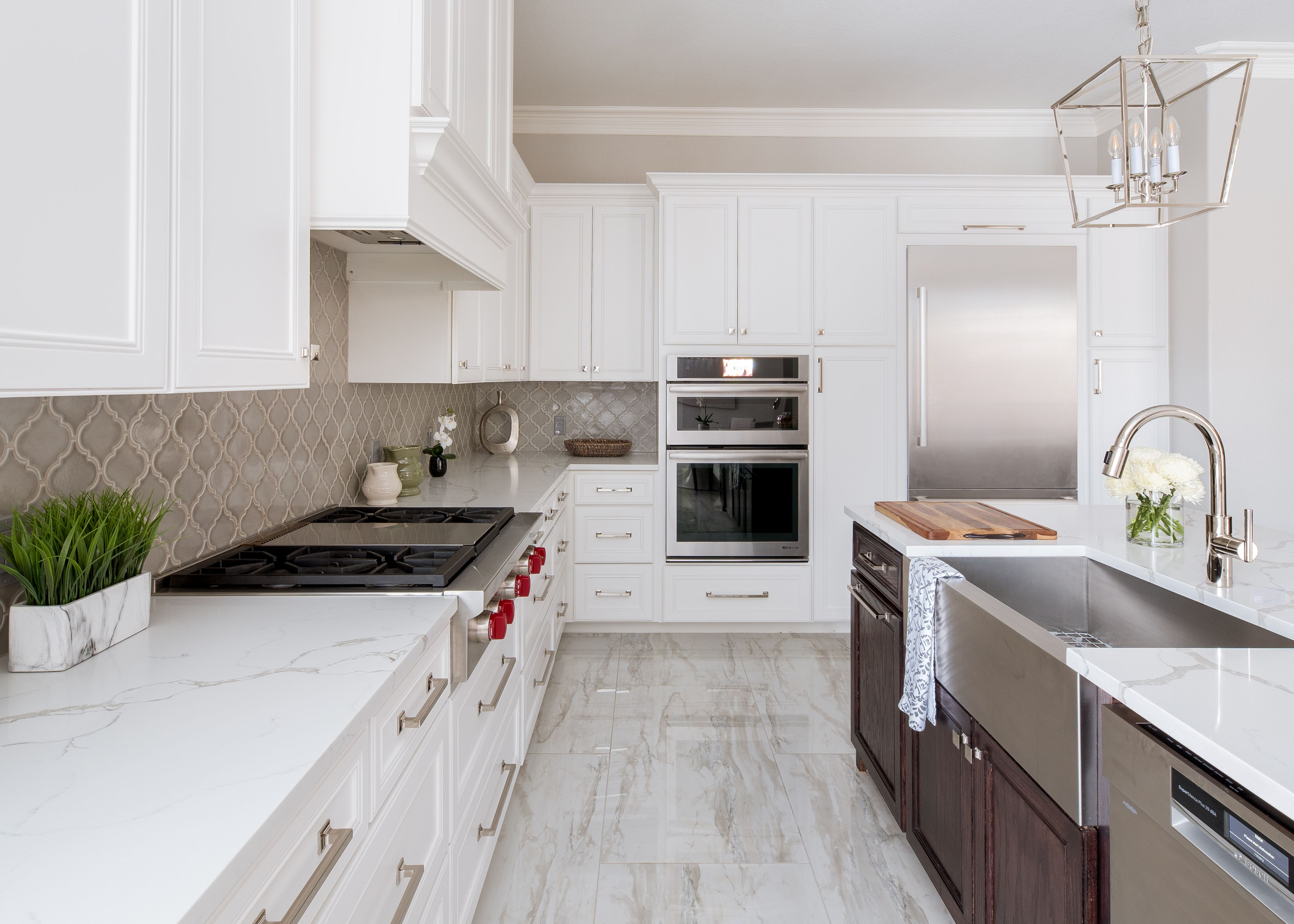 Custom Kitchen With Framed Beaded Cabinets Gray Arabesque Tile Backsplash White Quartz Countertops Kitchen Tiles Backsplash Trendy Kitchen Tile Kitchen Tiles