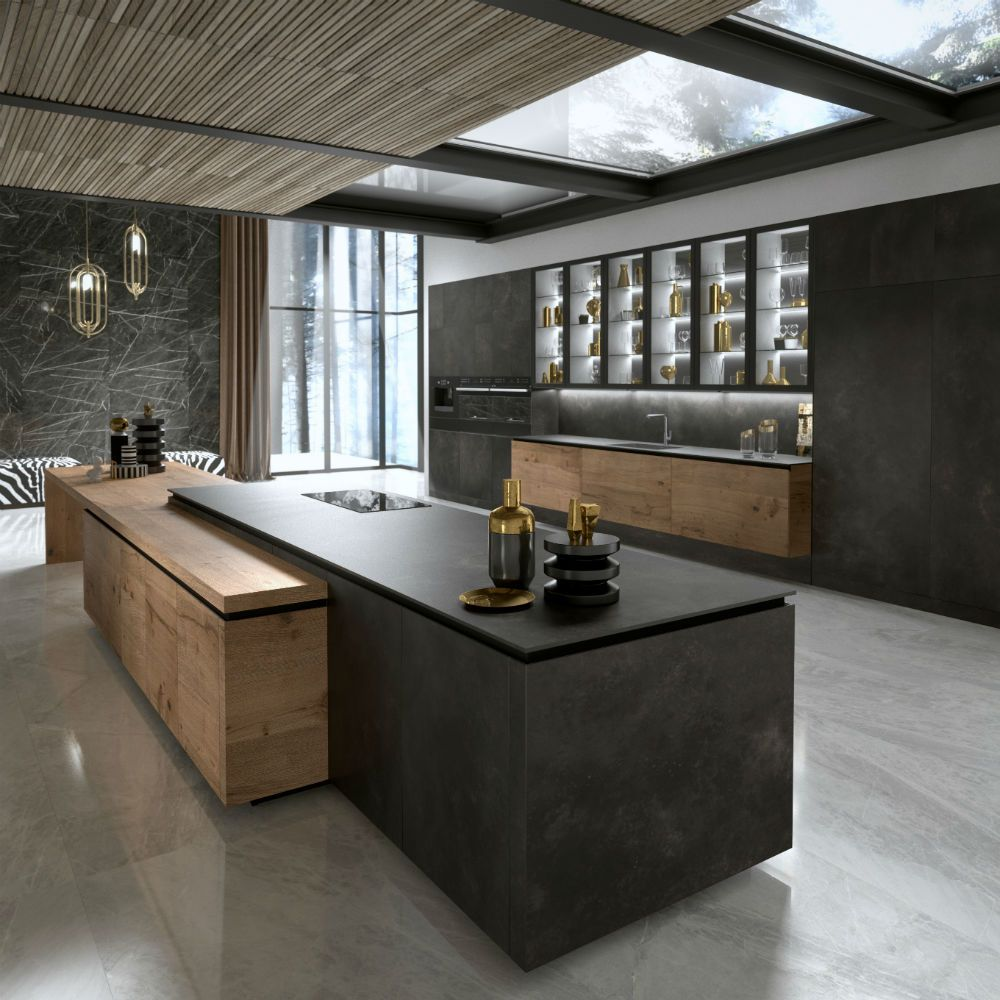 This handleless dark grey Chablis kitchen has an eye-catching dark ...