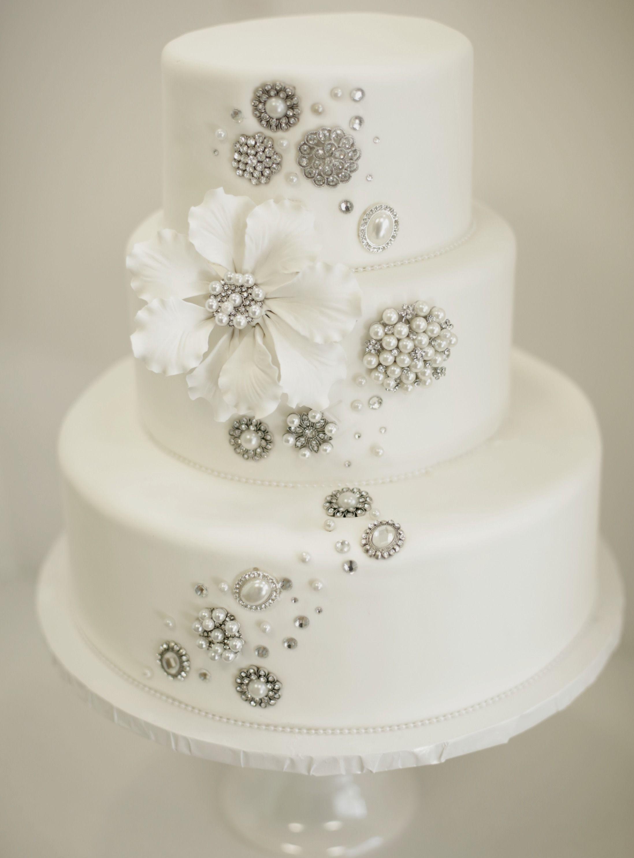 Sparkle Brooch Wedding Cake By Great Dane Bakery
