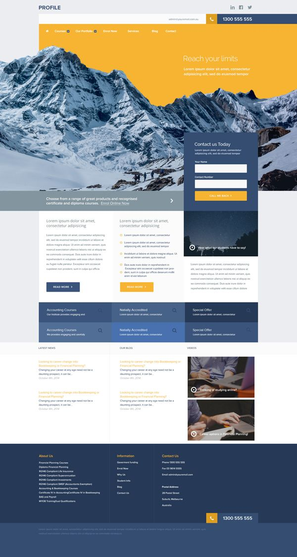 Free Unique Corporate Website PSD Template webdesign Pinterest - professional business profile template