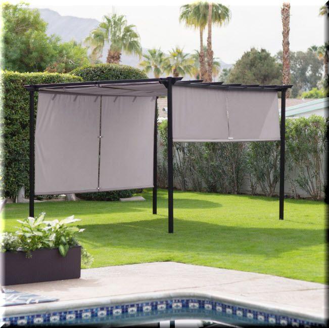 Details About Outdoor Pergola Gazebo Retractable Canopy Shades Black Gray  Backyard Shelter
