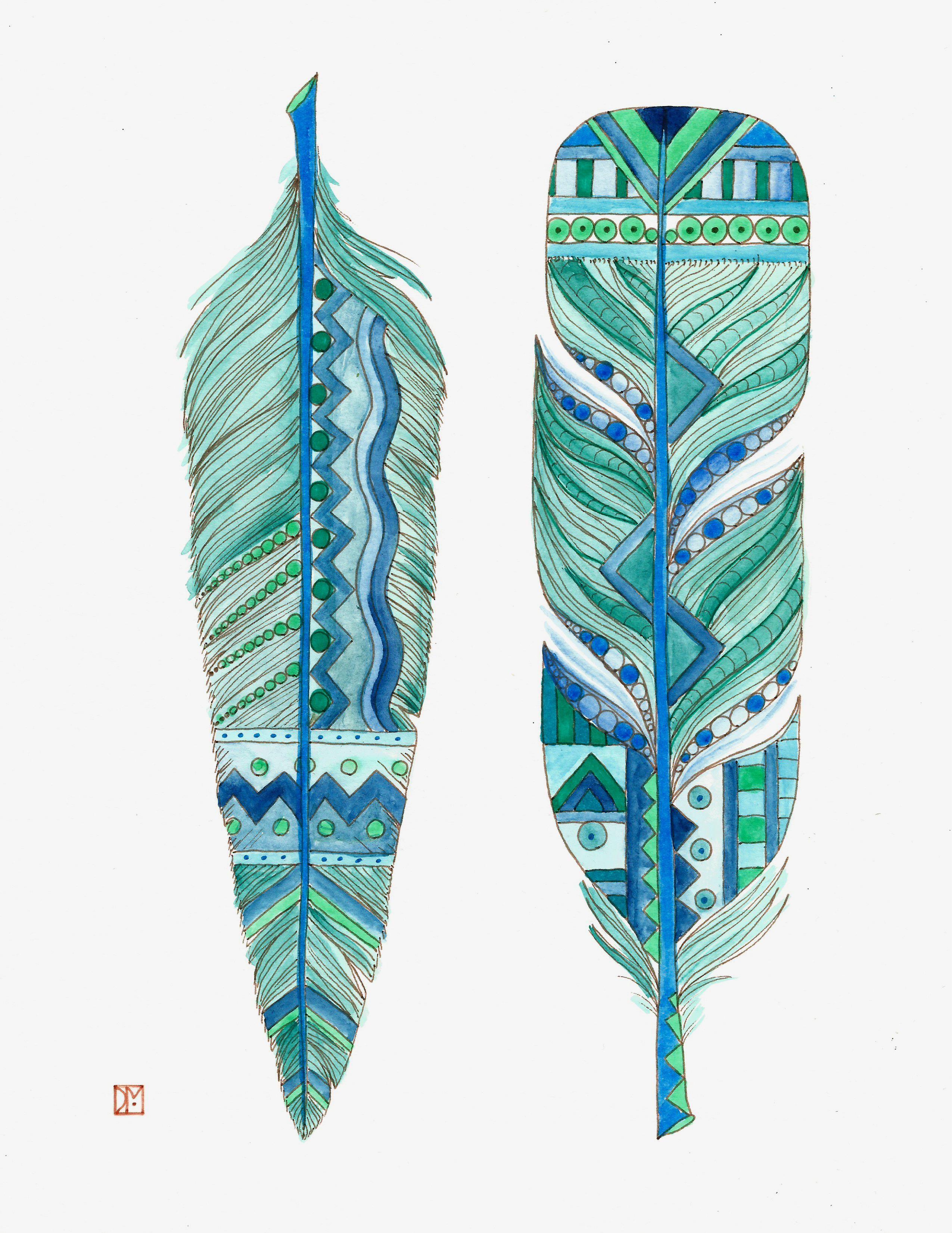 blue feathers art print chubby mermaid art on etsy