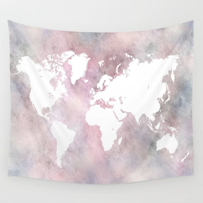 Wall tapestry wall hanging sofa throw design 66 world map light wall tapestry wall hanging sofa throw design 66 world map light pink grey home decor art ldumas by artbylucie on etsy gumiabroncs Images