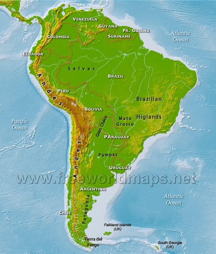 South America Physical Map | South america map, South ...