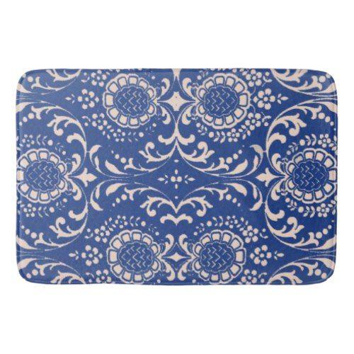 Blue Toile Bathroom Rug Bath Mat