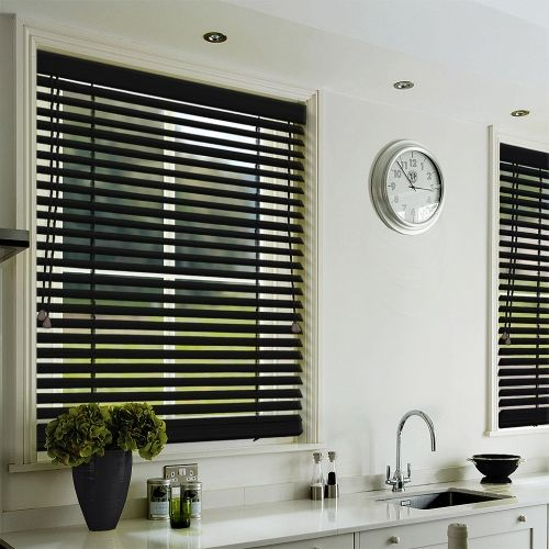 A Classic Black Stained Wood Blind Available In 35mm Or 50mm Slat Width And  Choice Of