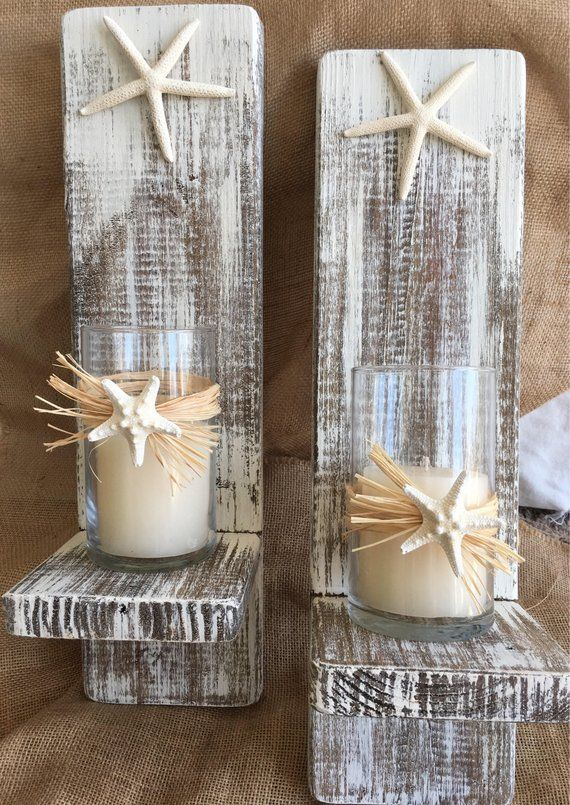 Photo of Set of 2 Reclaimed Wood Sconces with Starfish-Wall Decor-Cottage Chic-Farmhouse Decor-One of a Kind-Nautical Sconces-Distressed Sconces