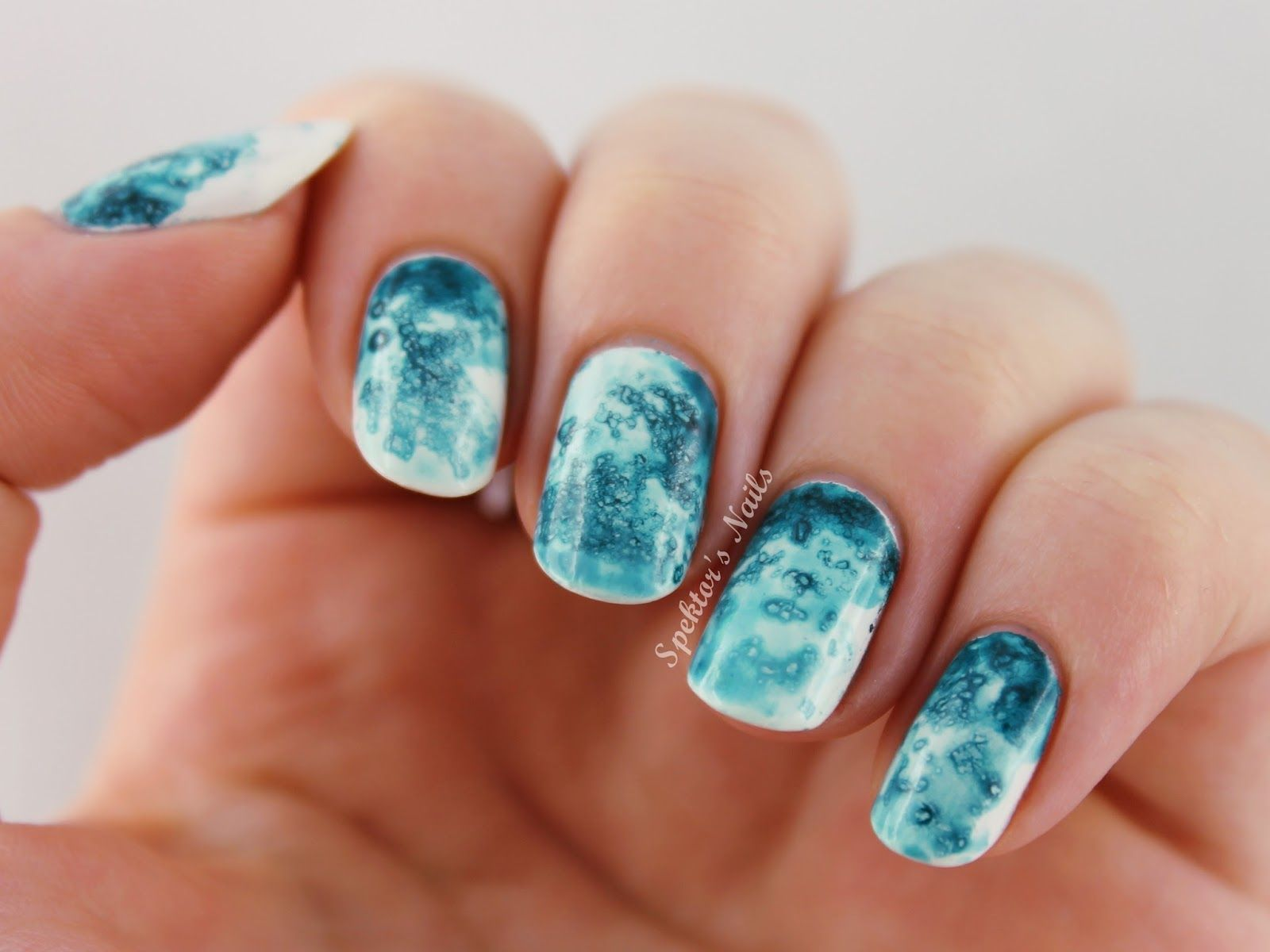 Turquoise Salted Watercolor Nails + Video Tutorial ...