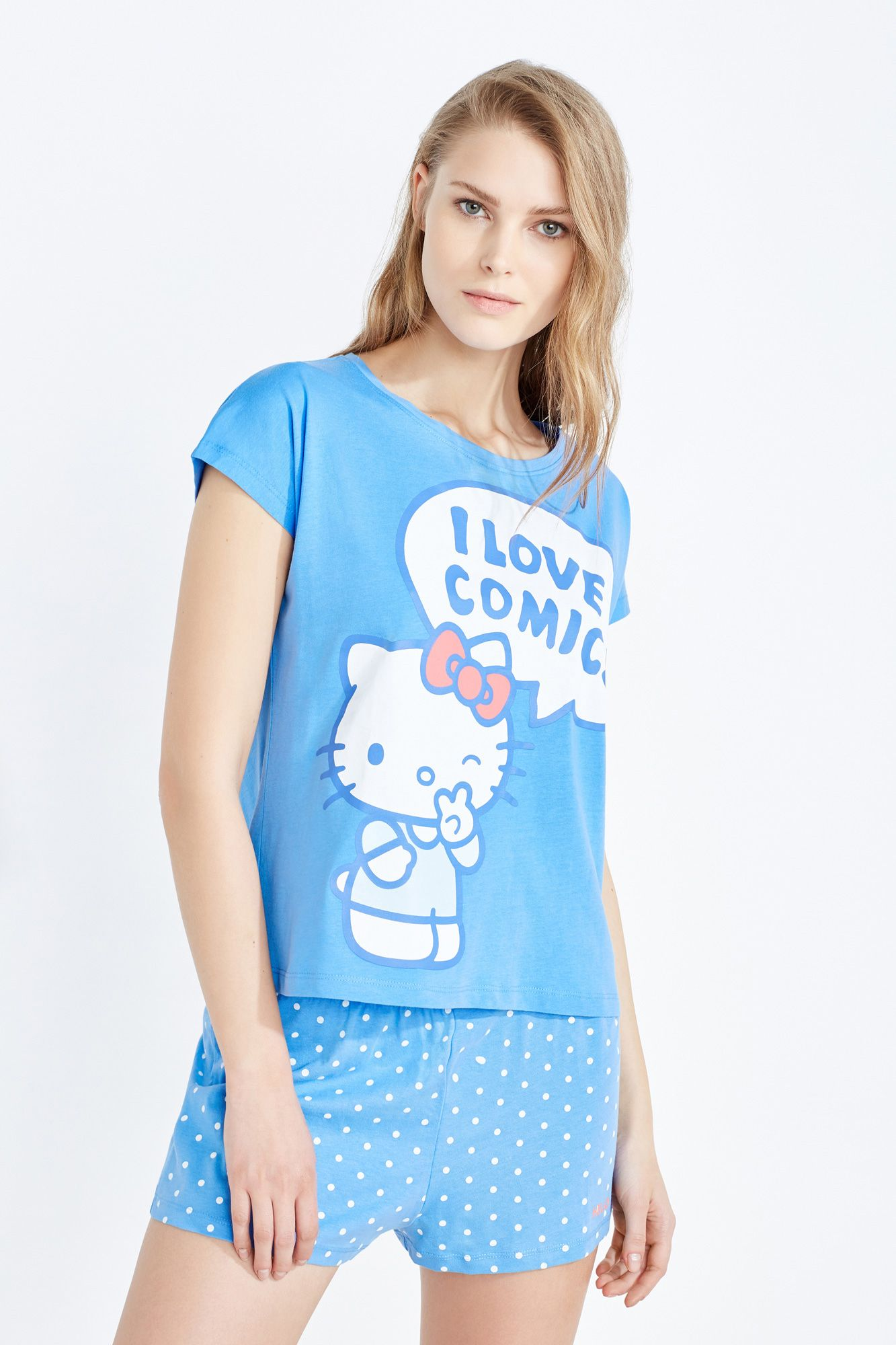 459b6c19f Women'secret - Short Hello Kitty pyjama Hello Kitty, Pajama Shorts, Short  Sleeves
