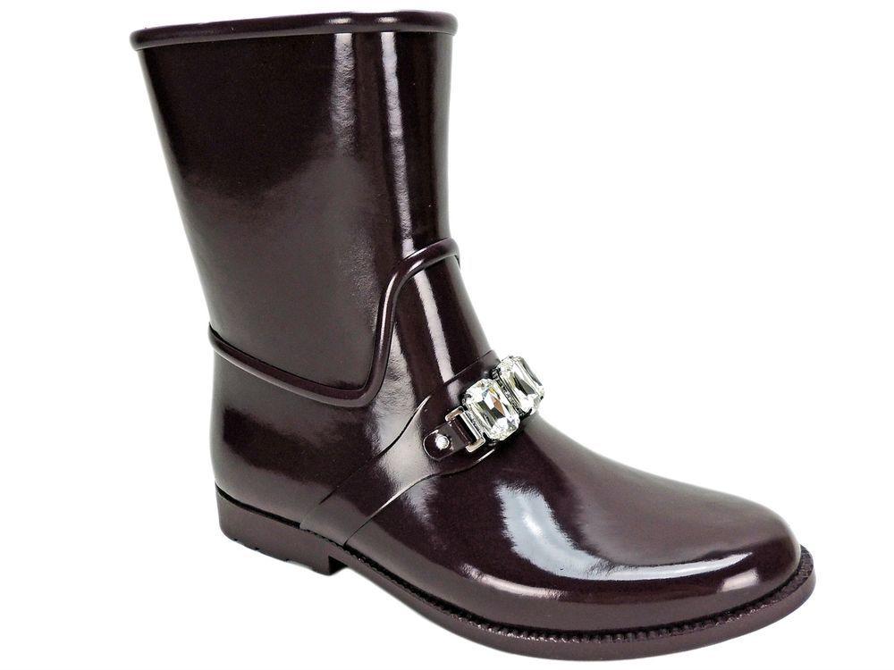64d9fb3aa02 Michael Kors Women s Leslie Rain Booties Plum Rubber Size 10 M  MichaelKors   Rainboots  OutdoorWinterColdWeather