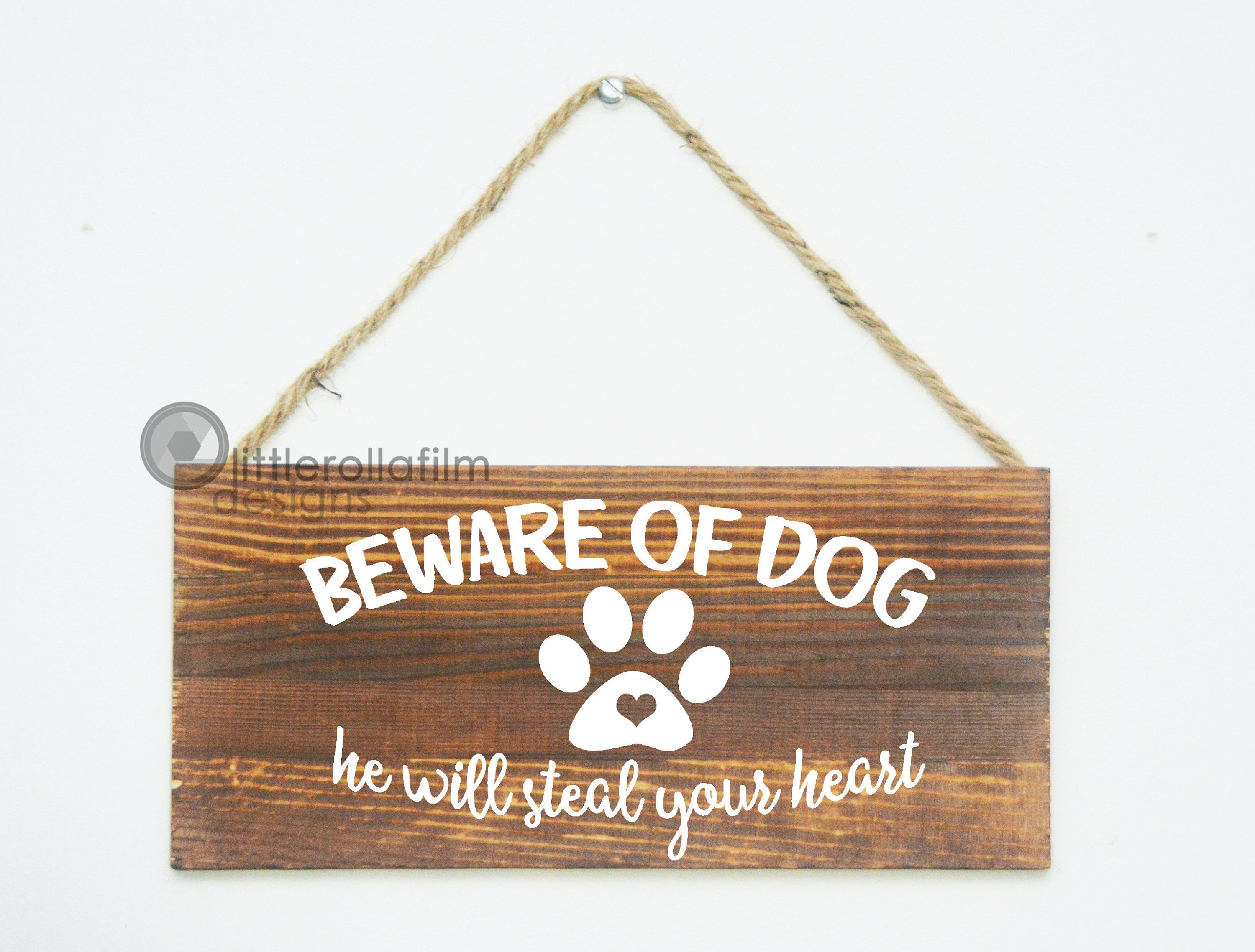 Beware Of Dog Sign 12 X5 1 2 Wood Plaque Pet Home Decor Gift For Her Gift For Him Rustic Decor By Littlerollafi Dog Signs Rustic Decor Just Because Gifts